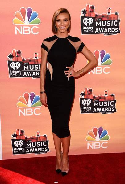 Giuliana Rancic continued the black and sheer theme with a pair of PVC cap-toe pumps.