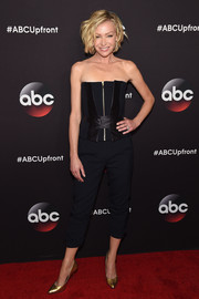 Portia de Rossi was edgy-sexy in a strapless black corset top by Amanda Wakeley during the ABC Upfront event.