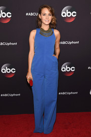 Camilla Luddington kept it simple in a sleeveless blue jumpsuit during the ABC Upfront event.