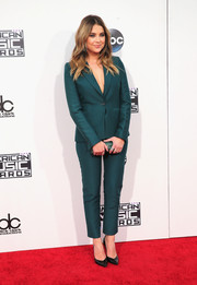 Ashley Benson stood out from a sea of dresses in this teal pantsuit by Max Azria Atelier during the American Music Awards.