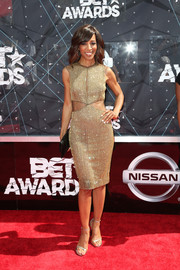 Shaun Robinson was all aglitter in a beaded gold cutout dress by Lorena Sarbu during the BET Awards.