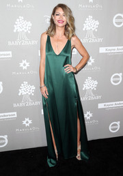 Rebecca Gayheart made an appearance at the Baby2Baby Gala looking sultry in a low-cut, double-slit emerald-green gown.