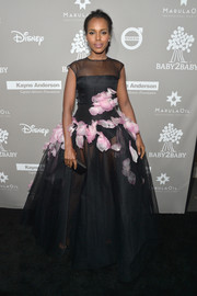 Kerry Washington made jaws drop at the Baby2Baby Gala with this sheer black Giambattista Valli Couture princess gown adorned with pink petal appliques.