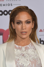Jennifer Lopez finished off her look with a shiny pout.
