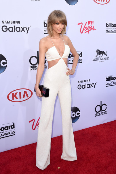 Balmain's White Cutout Jumpsuit at the 2015 Billboard Music Awards