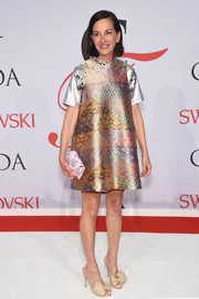 Cynthia Rowley channeled her inner little girl in a short and sweet A-line print dress of her own design.