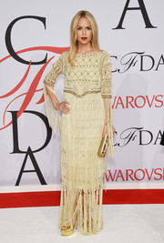 Rachel Zoe brought her signature boho style to the CFDA Fashion Awards with this heavily fringed cream-colored gown form her own label.