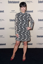 Constance Zimmer was demure in a black-and-white flower-embroidered shift dress by Tracy Reese during the Entertainment Weekly pre-Emmy party.