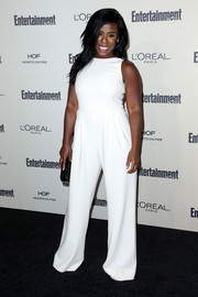 Uzo Aduba went for easy sophistication in a sleeveless white jumpsuit by Max Mara at the Entertainment Weekly pre-Emmy party.
