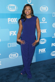 Taraji P. Henson kept it relaxed yet stylish in a sleeveless cobalt jumpsuit during the Fox Programming Presentation.