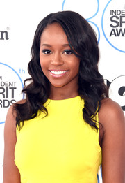 Aja Naomi King wore a sweet and lovely wavy hairstyle to the Film Independent Spirit Awards.