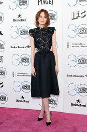 Emma Stone put a demure spin on the cutout trend with this black Monique Lhuillier number she wore to the Film Independent Spirit Awards.