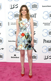 Gillian Jacobs went the bold, youthful route in a colorful mixed-print mini by Preen during the Film Independent Spirit Awards.