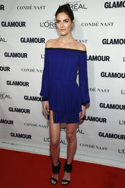 Hilary Rhoda was edgy-chic at the Glamour Women of the Year Awards in a royal-blue off-the-shoulder mini dress with a layered skirt and grommet detailing.