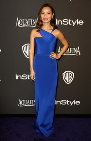 Jamie Chung was sleek and sophisticated at the InStyle and Warner Bros. Golden Globes party in an electric-blue column dress with a geometric neckline that gave the look an ultra-modern polish.