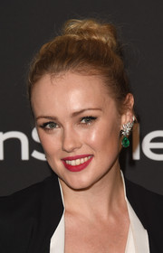 Hannah New kept it youthful with this top knot at the InStyle and Warner Bros. Golden Globes party.