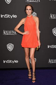 Louise Roe showed off legs for days in a red-orange mini dress at the InStyle and Warner Bros. Golden Globes party.