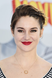 Shailene Woodley's red lipstick looked striking against her alabaster skin.