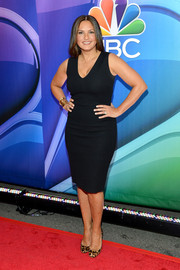 Mariska Hargitay put her curves on display in a body-con black dress during the NBC Upfront Presentation.