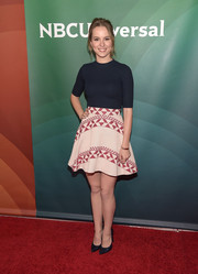 Bridgit Mendler kept it casual in a fitted navy tee during the NBCUniversal Summer Press Day.