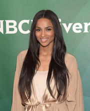 Ciara oozed feminine elegance with her ultra-long center-parted hairstyle at the NBCUniversal Summer Press Day.