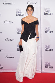 Leandra Medine looked sophisticated in a structured black off-the-shoulder top at the New York City Ballet Fall Gala.
