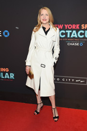 Patricia Clarkson chose black sandals with studded ankle straps and heels to complete her look.
