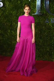 Ruth Wilson went for ultra-feminine flair in this magenta Ralph Lauren gown at the Tony Awards.