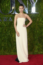 Bella Hadid went for simple, classic sophistication in a cream-colored strapless gown by Prabal Gurung at the Tony Awards.