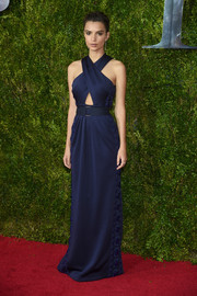 Emily Ratajkowski went for sultry glamour in a blue Marc Jacobs halter gown with a midriff peekaboo during the Tony Awards.