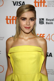 Kiernan Shipka sported a teased half-up style with a deep side part during the 'February' photocall at TIFF.
