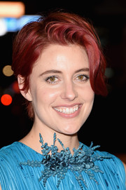 Greta Gerwig wore her hair short and tousled during the TIFF premiere of 'Maggie's Plan.'