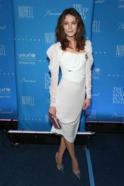 Michelle Monaghan completed her look with pointy silver pumps.