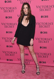Ireland Baldwin amped up the sexiness with a pair of black lace-up heels.