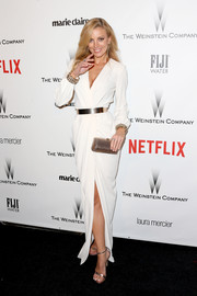 Bar Paly was classic and sexy in a white wrap dress cinched with a gold belt at the Weinstein Company and Netflix Golden Globes party.