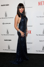 Krystle Mcgill glittered in a sexy blue halter gown at the Weinstein Company and Netflix Golden Globes party.