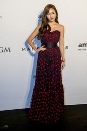Jessica Jung was fun and sweet in a red and black polka-dot strapless gown during the amfAR Hong Kong Gala.
