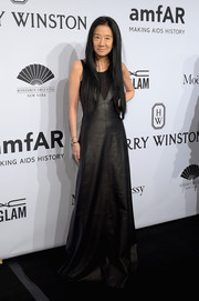 Vera Wang rocked a goth vibe in a floor-sweeping black leather dress during the amfAR New York Gala.