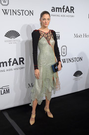 Sofia Sanchez Barrenechea went for an eclectic look in this mixed-material cocktail dress during the amfAR New York Gala.
