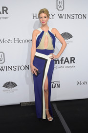 Ivanka Trump revealed her more daring side with this color-blocked keyhole-cutout dress by J. Mendel at the amfAR New York Gala.