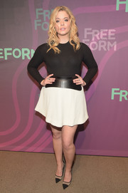 Sasha Pieterse completed her perfectly coordinated attire with monochrome cap-toe pumps by Kurt Geiger.