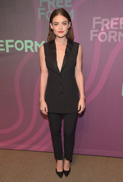 Lucy Hale was sleek and chic in a sleeveless black pantsuit by Cristiano Burani at the ABC Freeform Upfront.