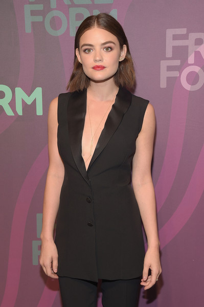 More Pics of Lucy Hale Short Wavy Cut (1 of 21) - Lucy Hale Lookbook - StyleBistro [clothing,fashion,hairstyle,suit,beauty,dress,formal wear,long hair,fashion model,outerwear,lucy hale,freeform,new york city,abc,spring studios]