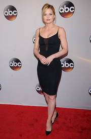 Jennifer Morrison flaunted her figure in a tight black slip dress with lace accents for the 2016 ABC Upfront.