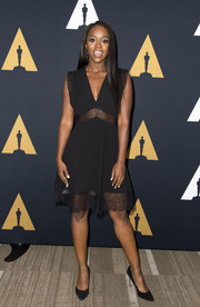 Aja Naomi King was sultry and chic in a lace-panel LBD at the 2016 Academy Nicholl Fellowships in Screenwriting Awards.