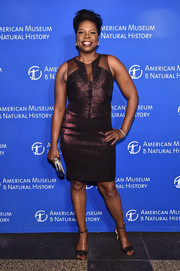 Leslie Jones got all prettied up in a metallic-purple sheer-panel cocktail dress by Badgley Mischka for the 2016 American Museum of Natural History Gala.