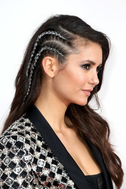 Nina Dobrev rocked a half-braided, glittered hairstyle at the 2016 AMAs.