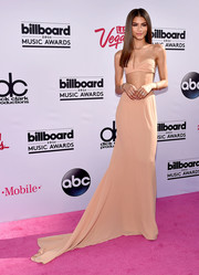 Zendaya Coleman completed her head-turning look with a floor-sweeping nude skirt.