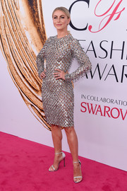 Julianne Hough kept the shine going all the way down to her silver Stuart Weitzman Nudist sandals.