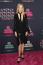 Nicole Kidman shimmered in a low-cut black sequin dress by Michael Kors at the 2016 CMT Music Awards.